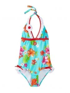 Azul Little Girls Red Turquoise Floral Totes Cute One Piece Swimsuit 4-6