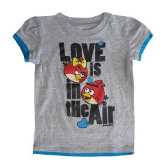 Angry Birds Little Girls Grey Cartoon Print Short Sleeved T-Shirt 4-6X