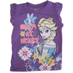 "Disney Little Girls Purple Elsa ""Warm At Heart"" Flutter Sleeve Top 2-4T"