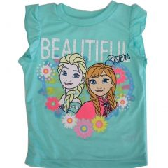 Disney Little Girls Turquoise Elsa Anna Floral Print Flutter Sleeve Top 2-4T