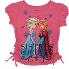 "Disney Little Girls Pink Frozen ""Sisters Forever"" Short Sleeved T-Shirt 2-4T"