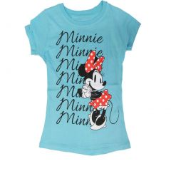 Disney Little Girls Sky Blue Minnie Mouse Print Short Sleeve T-Shirt 5-6X