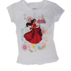 "Disney Little Girls White Elena Of Avalor ""Lead With Kindness"" T-Shirt 5-6X"