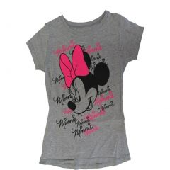 Disney Little Girls Gray Minnie Face Letter Print Short Sleeve T-Shirt 5-6X