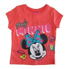 Disney Little Girls Coral Hey Minnie Mouse Short Sleeve Cotton T-shirt 4-6X