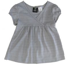 Hart Street Little Girls Gray Short Sleeve Striped Blouse Shirt 4-6X