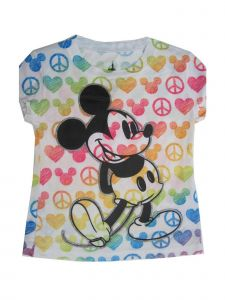 Disney Little Girls Multi Rainbow Mickey Print Short Sleeve T-Shirt 4-6X