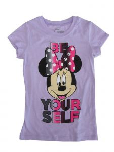 """Disney Big Girls Violet Minnie Mouse """"Be Yourself"""" Short Sleeve T-Shirt 7-16"""