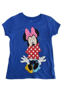 Disney Big Girls Royal Blue Minnie Mouse Print Short Sleeve T-Shirt 7-16