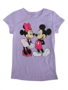 Disney Little Girls Violet Minnie Mickey Mouse Print Cotton T-Shirt 4-6X
