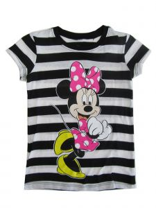 Disney Little Girls Black White Stripe Minnie Mouse Print T-Shirt 4-6X