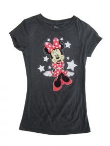 Disney Little Girls Gray Minnie Mouse Star Print Short Sleeve T-Shirt 4-6X