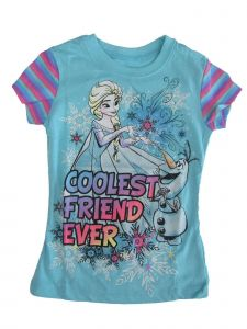 "Disney Big Girls Blue Olaf Elsa ""Coolest Friend Ever"" Cotton T-Shirt 7-16"
