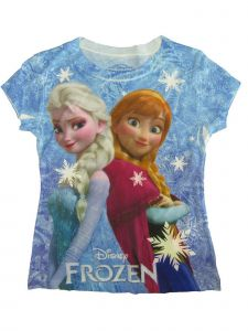 Disney Girls Blue Frozen Anna Elsa Cartoon Print Cotton T-Shirt 6-8