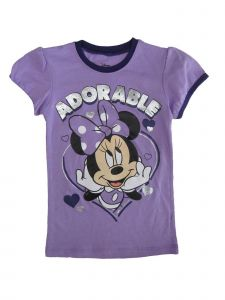 "Disney Big Girls Purple ""Adorable"" Heart Print Short Sleeve T-Shirt 7-12"