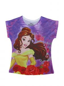 Disney Little Girls Purple Beauty And The Beast Belle Print T-Shirt 4-6X