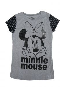 Disney Little Girls Grey Black Minnie Mouse Face Print Cotton T-Shirt 4-6X