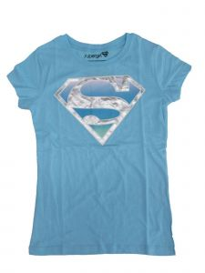 DC Comics Big Girls Supergirl Blue Logo Print Short Sleeve T-Shirt 7-16