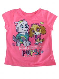 "Hasbro Little Girls Neon Pink ""Pawsome Pups"" Print Short Sleeve T-Shirt 2-4T"