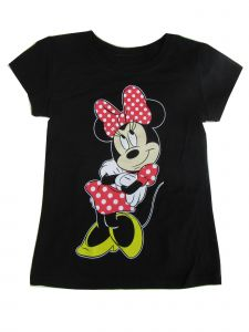 Disney Little Girls Black Minnie Mouse Print Short Sleeved T-Shirt 4-6X
