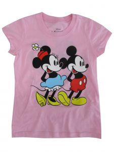 Disney Big Girls Pink Minnie Mickey Mouse Print Short Sleeve T-Shirt 7-16