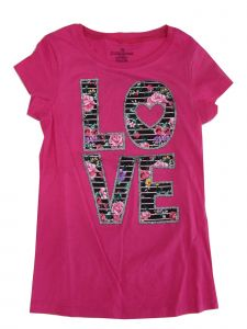 "Big Girls Pink ""Love"" Flower Stripe Letter Print Short Sleeve T-Shirt 7-12"