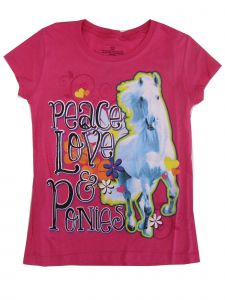 "Big Girls Pink ""Peace Love & Ponies"" Print Short Sleeved T-Shirt 7-16"