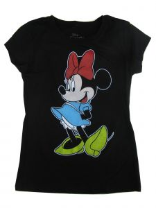 Disney Big Girls Black Minnie Mouse Print Short Sleeve Trendy T-Shirt 7-16