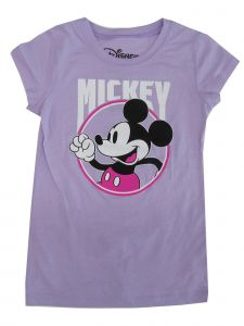 Disney Little Girls Violet Mickey Mouse Print Short Sleeve Trendy T-Shirt 4-6X
