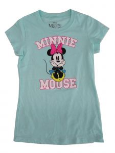 Disney Big Girls Mint Minnie Mouse Print Short Sleeve Trendy T-Shirt 7-16