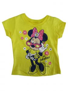 "Disney Baby Girls Yellow Minnie Mouse ""So Fabulous"" Print T-Shirt 12-24M"