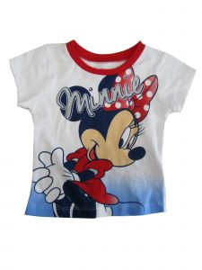 Disney Baby Girls White Blue Minnie Print Short Sleeve Trendy T-Shirt 12-24M