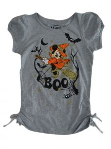 Disney Little Girls Grey Minnie Mouse Short Sleeve Halloween Shirt 4-6X