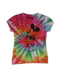 Disney Girls Multi Color Tie-Dye Mickey Mouse Print Trendy T-Shirt 4-8