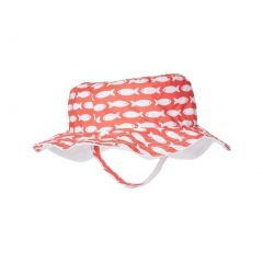 Azul Girls Red Fish Line Allover Print Trendy Reversible Sun Hat 6M-5Y