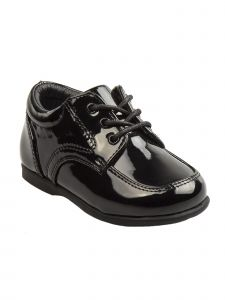 Josmo Boys Black Patent Leather Double Buckle First Walker Shoes 3 Baby-8 Toddler