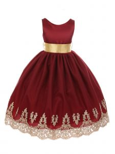 Chic Baby Big Girls Burgundy Gold Lace Embroidered Junior Bridesmaid Dress 8