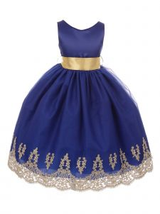 Chic Baby Little Girls Royal Blue Gold Lace Embroidered Flower Girl Dress 4-6