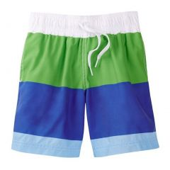 Azul Little Boys Green Blue White Color Block Drawstring Swim Shorts 2-6