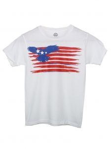 Unisex Big Kids White American Eagle Flag Print T-Shirt 6-16
