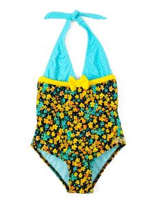 Azul Big Girls Turquoise Prairie Girl Bow Halter Neck 1 Pc Swimsuit 7-10