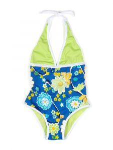 Azul Little Girls Green Multi Color Nod To Mod Halter Neck 1 Pc Swimsuit 4-6