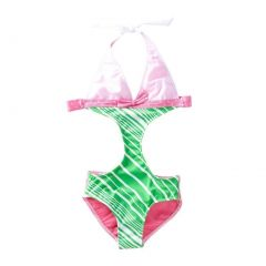 Azul Little Girls Pink Green Candy Crush Halter Tie Monokini Swimsuit 4-6