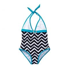 Azul Big Girls Blue White Jagged Edge Triangle One Piece Swimsuit 7-14
