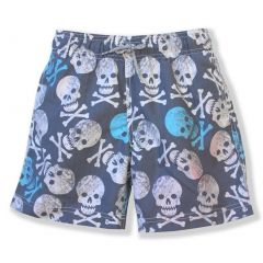 Azul Boys Gray Blue Skull Print Hamlet Drawstring Swimwear Shorts 2-10