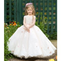 Triumph Dress Little Girls Pink Crystal Adorned Anastasia Flower Girl Dress 6
