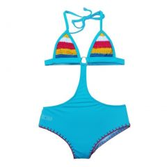 Azul Big Girls Turquoise Hippie Hippie Shake Crochet Monokini Swimsuit 8-14