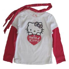 Hello Kitty Red White Glitter Applique Heart Dotted Scarf Shirt 4-6X