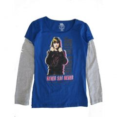 Justine Bieber Big Girls Royal Blue Gray Artist Print Long Sleeved shirt 7-12