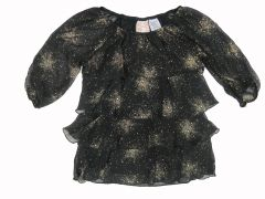 Wallflower Big Girls Black Tiny Dots Sprinkled Tiered Long Sleeved Shirt 7-14
